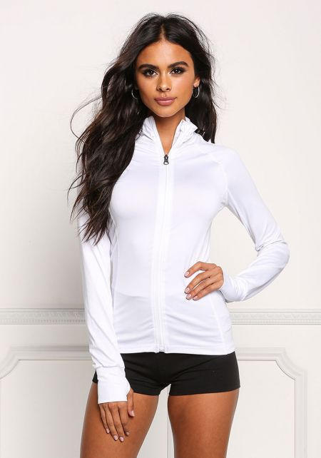 White High Neck Zip Active Sweater