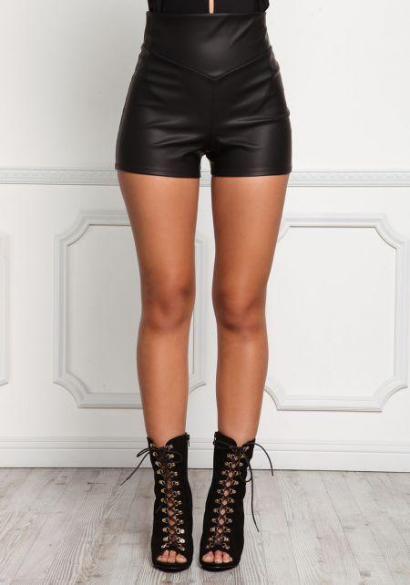 Black Leatherette High Rise Shorts