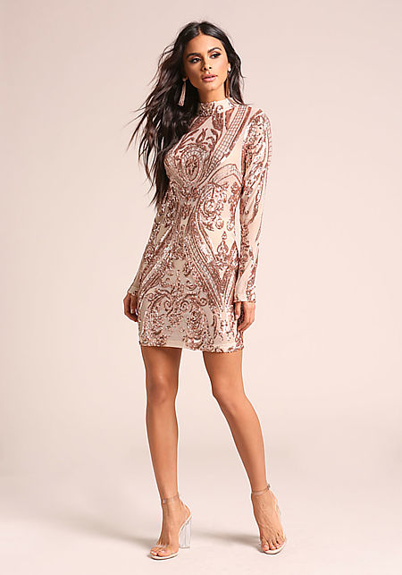 Rose Gold Sequin Brocade Mesh Bodycon Dress