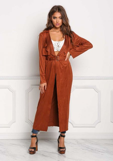 Rust Suedette Longlined Cinched Jacket