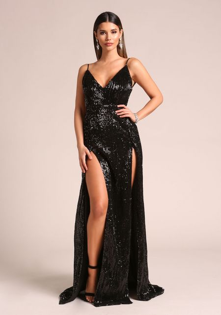 Black Sequin Double High Slit Open Back Maxi Gown