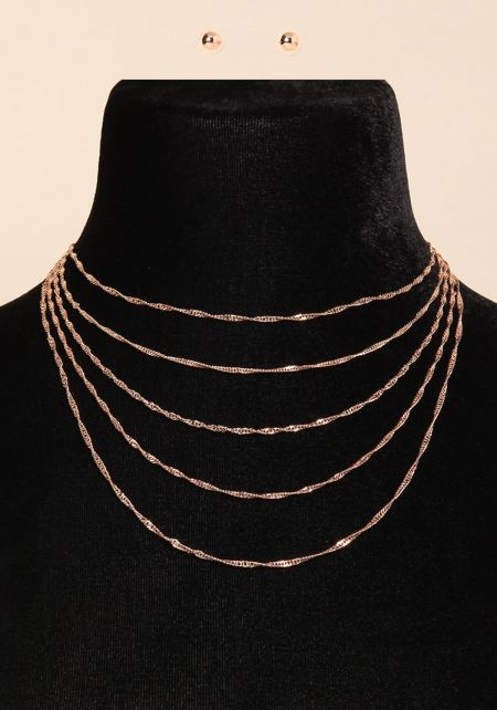 Rose Gold Twisted Chain Layered Necklace