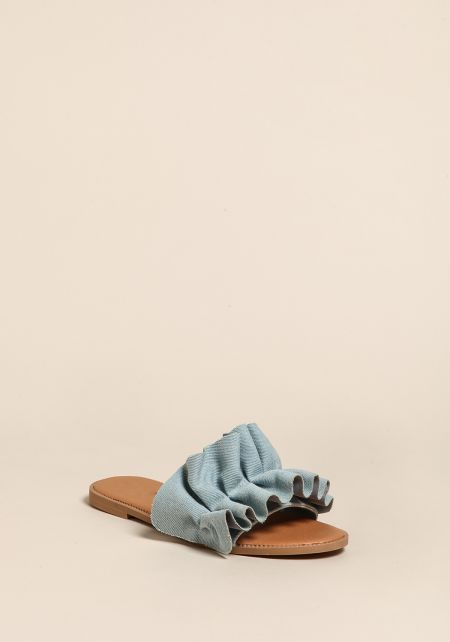 Blue Denim Ruched Sandals