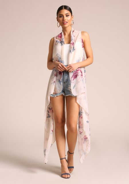 Off White Floral Longlined Vest
