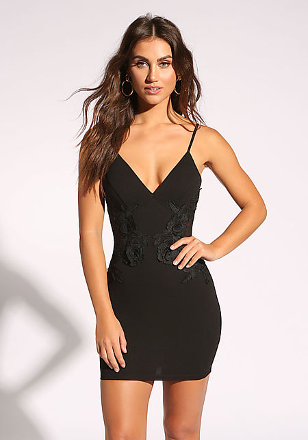 Black Floral Applique Plunge Bodycon Dress