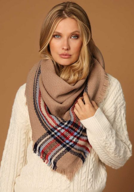 Taupe Plaid Soft Fringe Scarf