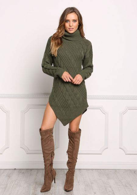 Olive Pointed Cable Knit Turtleneck Dress
