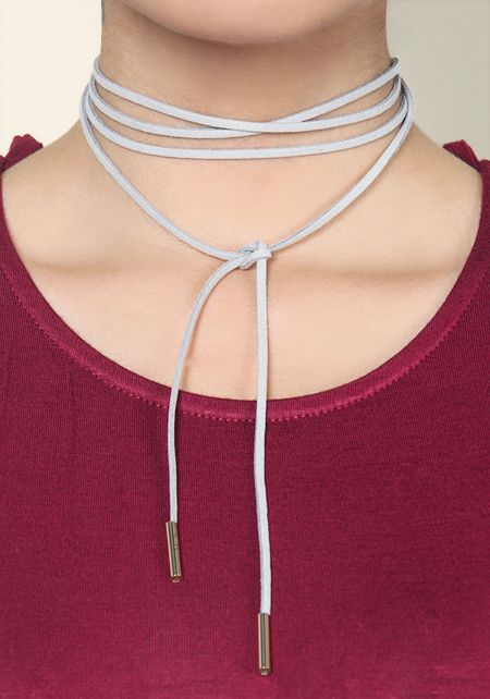 Grey Suedette Wrap Around Choker
