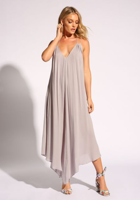 Grey Plunge Cross Strap Maxi Dress
