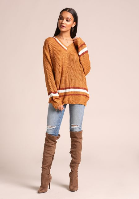 Mustard Stripe Distressed V Neck Sweater Top