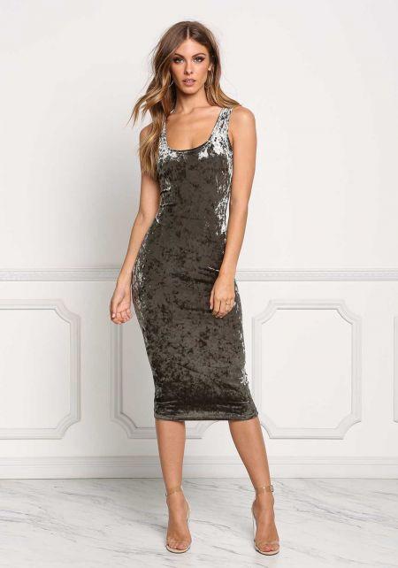 Olive Crushed Velvet Midi Dress