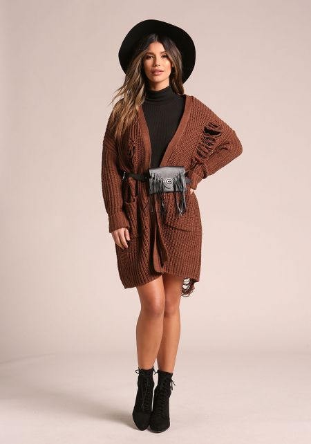 Coffee Thick Knit Frayed Pocket Cardigan