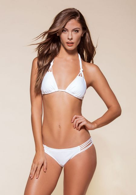 White Knotted Multi Strap Bikini Set