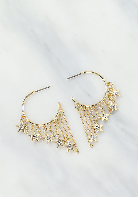 Gold Chain C Hoop Earrings