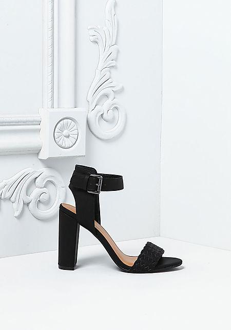Black Suedette Braided Strap Heels