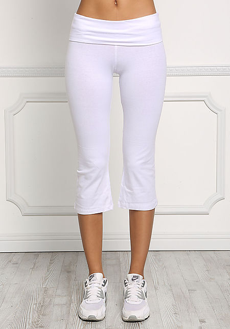 White Yoga Stretch Capri Pants