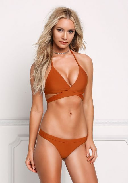 Dark Rust Tie Back Triangle Swimsuit Bikini Top