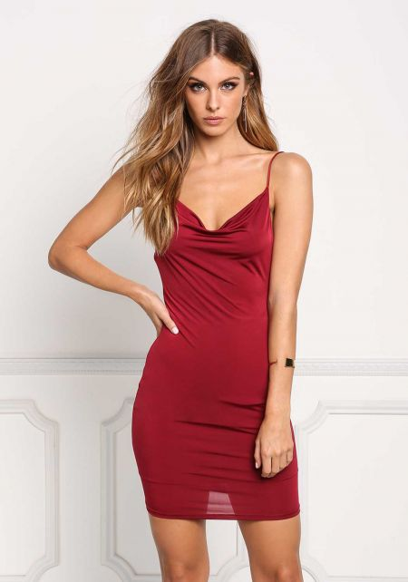 Burgundy Draped Low Back Bodycon Dress