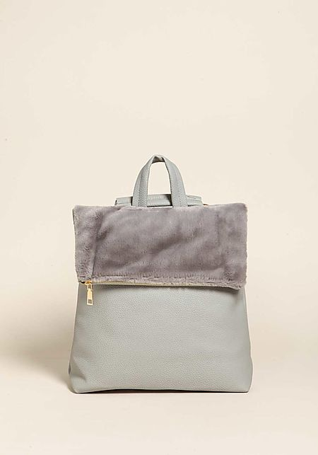 Grey Faux Leather & Fur Backpack