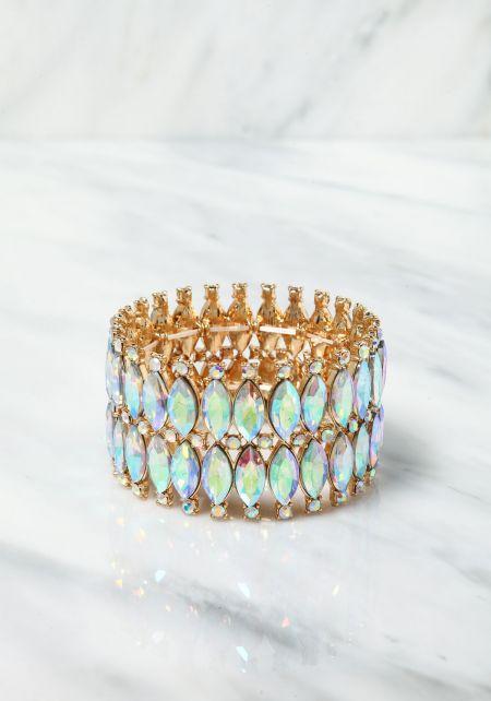 Gold Iridescent Teardrop Rhinestone Bracelet