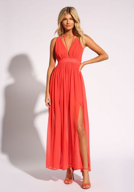 Red Cross Strap Two Slit Maxi Dress