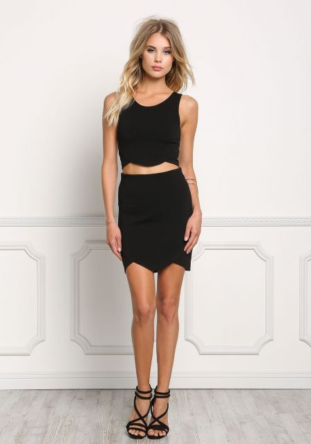 Black Scallop Bandage Skirt
