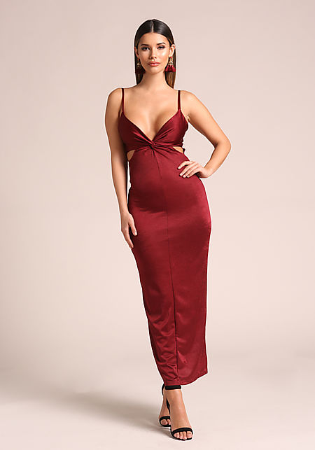 Burgundy Twisted Cut Out Lustrous Maxi Dress