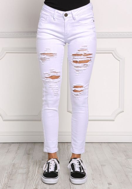 White Distressed Mid Rise Jeans