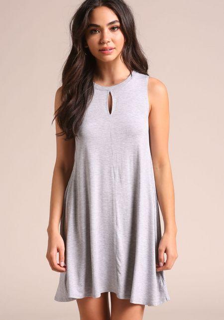 Heather Grey Keyhole Jersey Knit Shift Dress