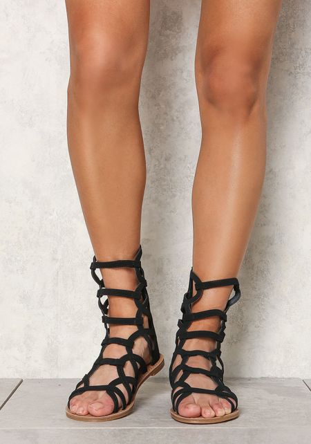 Black Leatherette Cut Out Gladiator Sandals