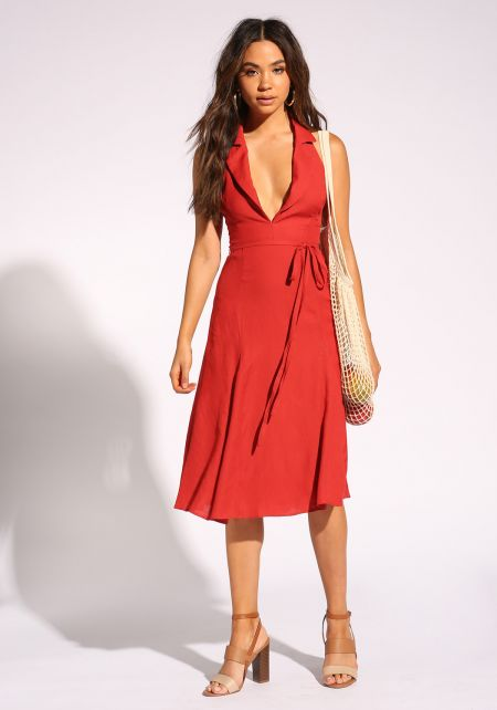 Brick Collared Plunge Halter Dress