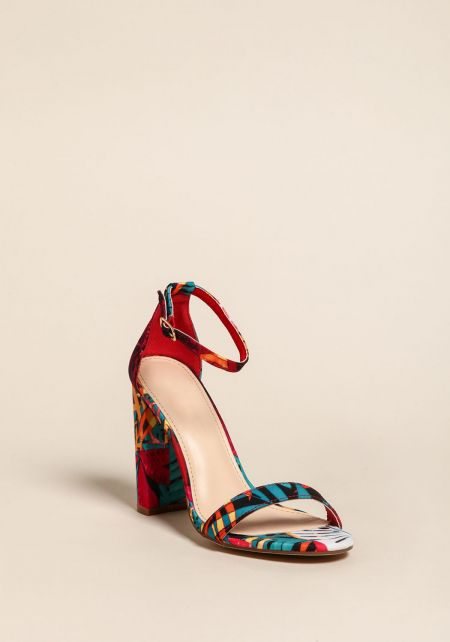Multi Floral Ankle Strap Block Heels