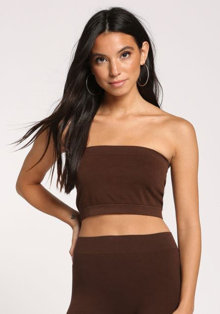 Dark Brown Bandeau Crop Top