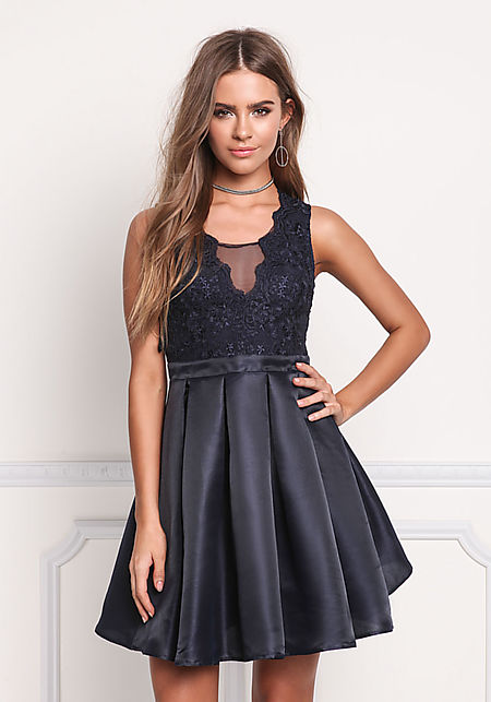 Navy Taffeta Embroidered Pleated Flare Dress