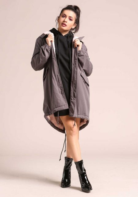 Charcoal Hooded Faux Fur Lined Parka Jacket