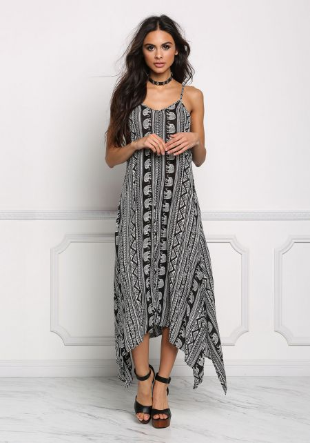 Black and White Tribal Print Pointed Maxi Dress