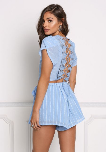 Blue Crochet Embroidered Back Lace Up Crop Top