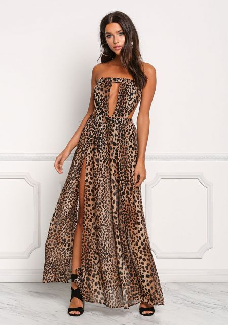 Leopard Print Cut Out Slit Maxi Dress
