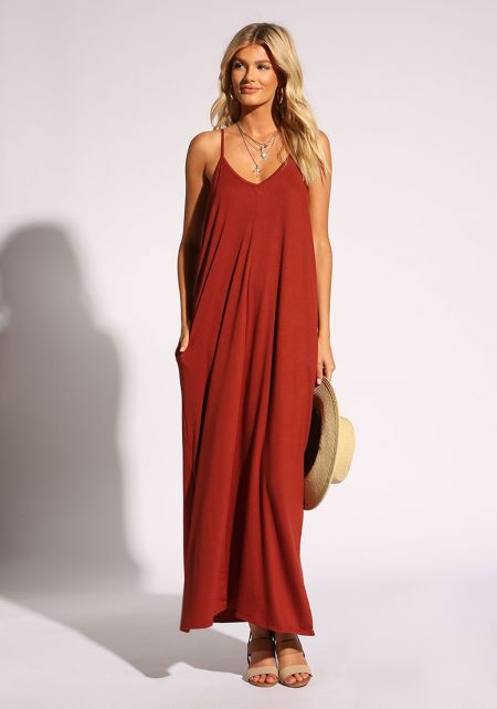 Rust Jersey Knit Pocket Maxi Dress