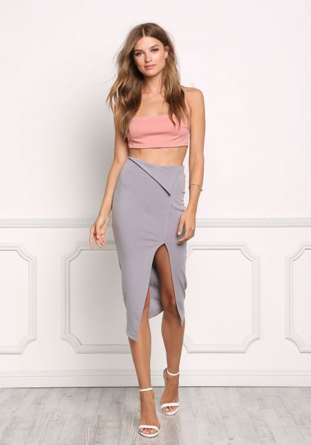 Silver Fold Over High Rise Slit Skirt