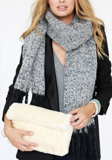 Ivory Faux Fur Fold Over Clutch