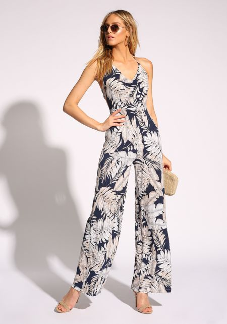 Navy Tropical Leaf Halter Jumpsuit