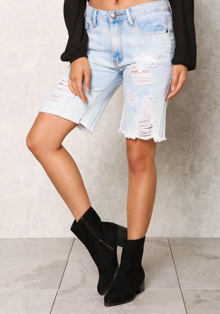 Light Denim Bermuda Distressed Shorts