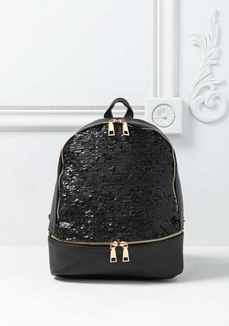 Black Sequin Leatherette Zipper Backpack