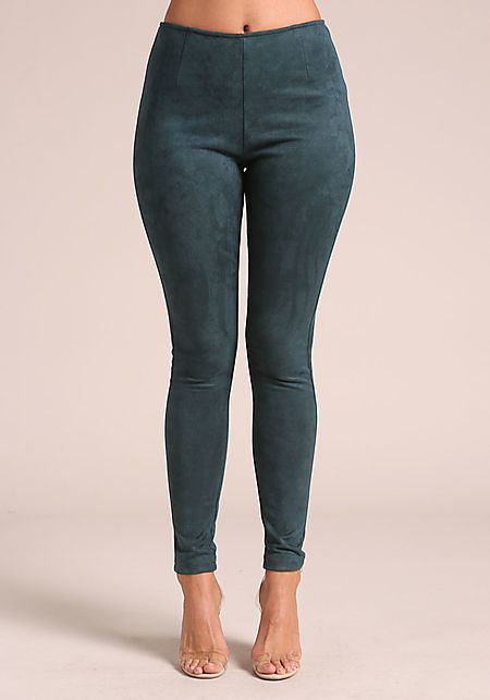 Teal Suedette High Rise Pants