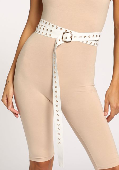 White Faux Leather Grommet Wrap Around Belt