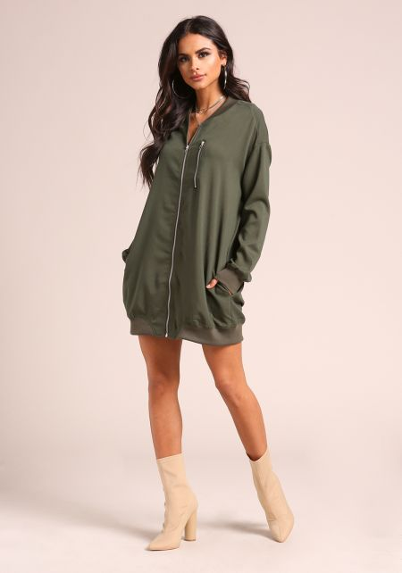 Olive Double Zipper Longlined Jacket