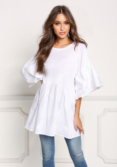 White Layered Bell Sleeve Flared Blouse
