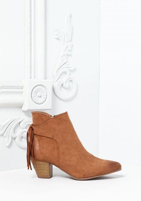 Camel Pointed Toe Fringe Boots