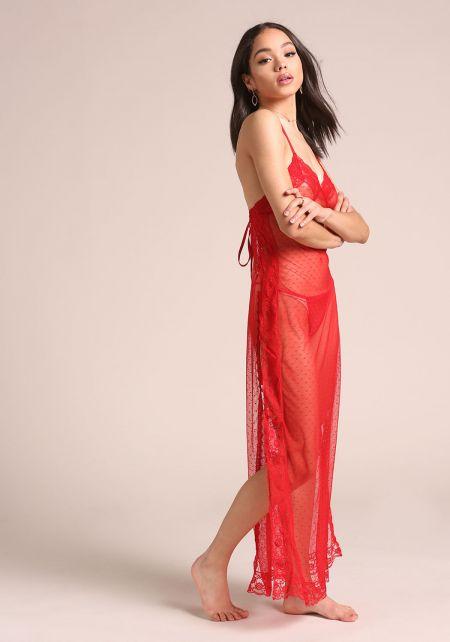 Red Sheer Slip On Dress Lingerie Set